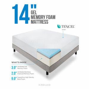 lucid 14 inch memory foam